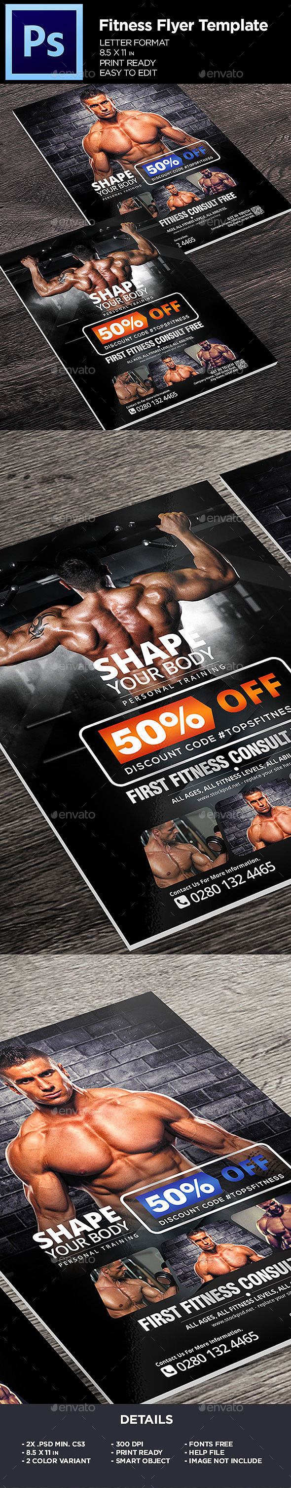 GraphicRiver Fitness Flyer Gym Business Flyer Template 20753435