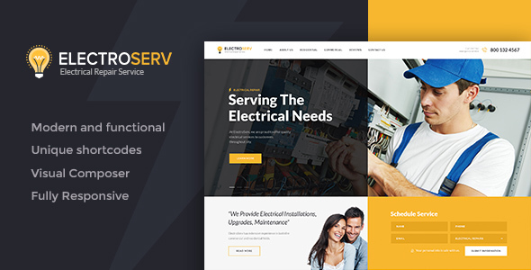 ElectroServ | Electrical Repair Service WordPress Theme - Retail WordPress