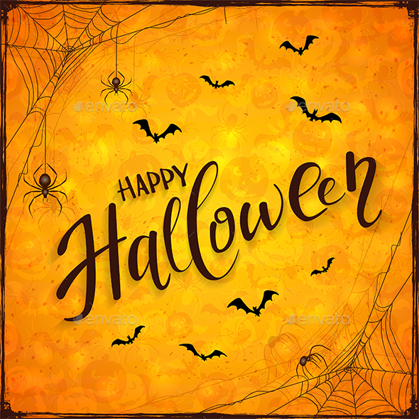 Orange Halloween Background with Spiders - Halloween Seasons/Holidays