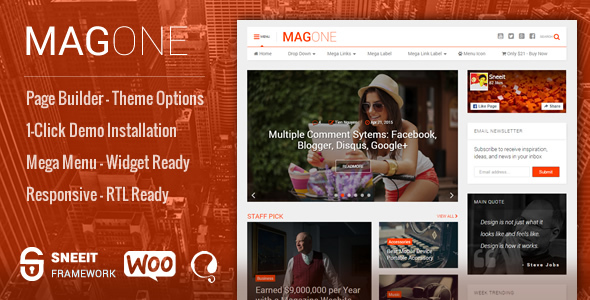 MagOne -­ Responsive Magazine & News WordPress Theme - News / Editorial Blog / Magazine