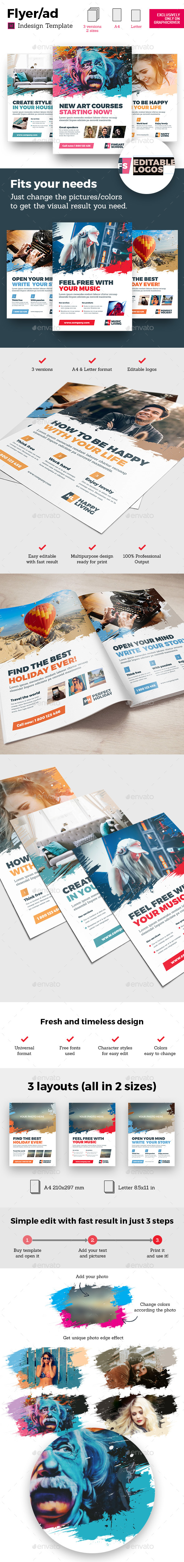 GraphicRiver Art Business Universal Flyer ad 3x Template Brush Distortion Indesign 20762376