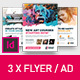 Art Business Universal Flyer/ad 3x Template Brush Distortion Indesign