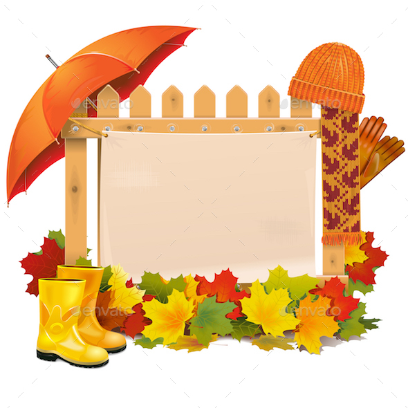 GraphicRiver Wooden Fence with Autumn Leaves 20762388