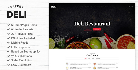 Deli Restaurant is a clean HTML5/CSS3 template suitable for Restaurant, Online Booking Services. You can customize it very easy to fit your needs.