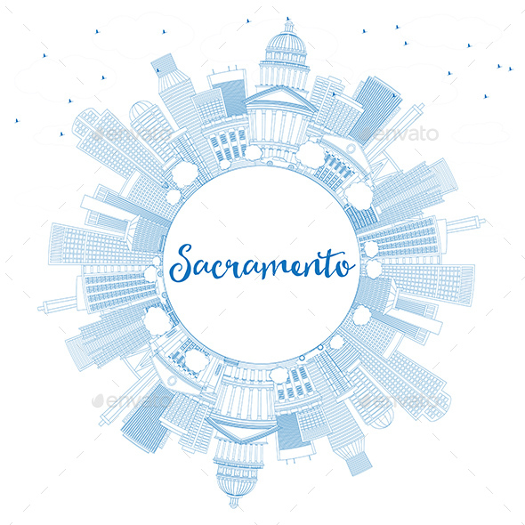 Outline Sacramento Skyline with Blue Buildings and Copy Space - Buildings Objects