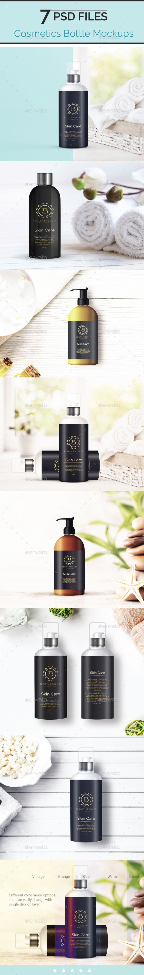 Cosmetic Bottle Mockup, Shampoo and Oil Bottle - Beauty Packaging