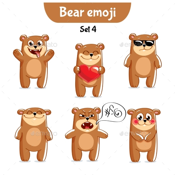 GraphicRiver Set of Bear Characters Set 4 20762714