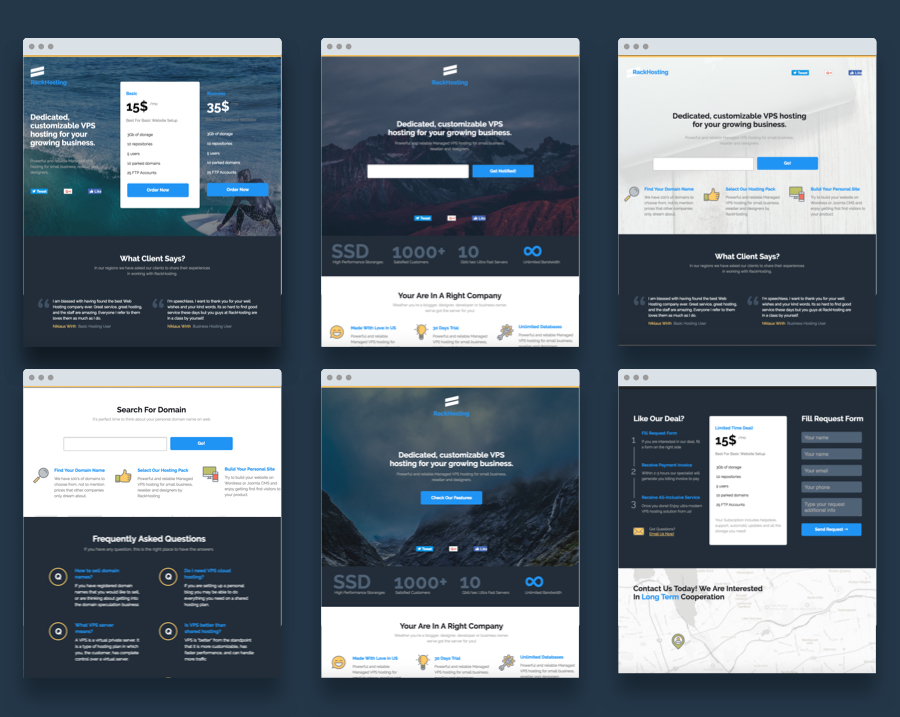 Rack Hosting - Unbounce Landing Page Templates Bundle Pack - 1