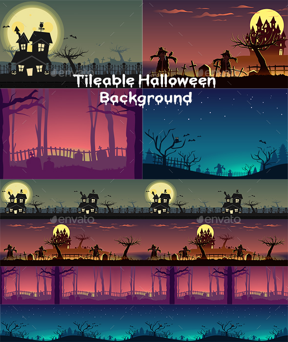 Tileable Halloween Game Background - Backgrounds Game Assets