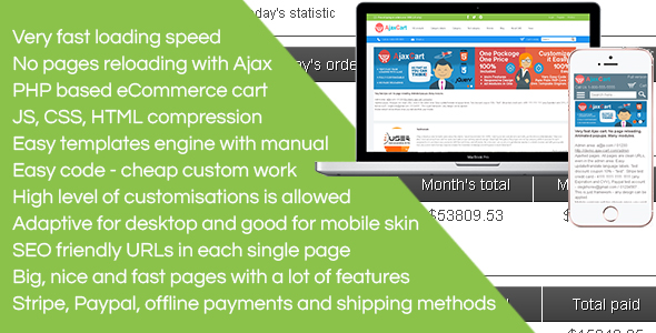 Ajax Cart - no page reloading at all. Super fast. A lot of features. CMS ready. Adaptive/mobile skin - CodeCanyon Item for Sale
