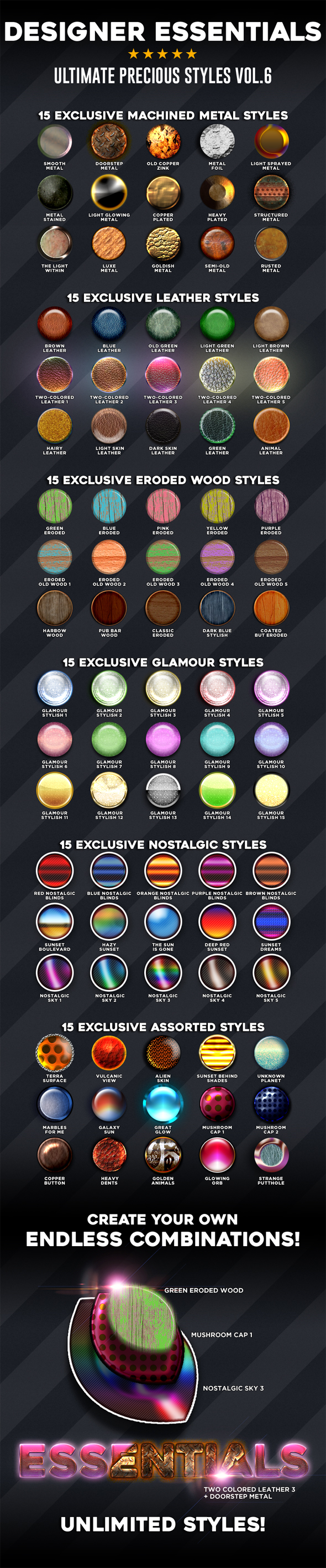 Designer Essentials Ultimate Precious Styles Vol.6 - Styles Photoshop