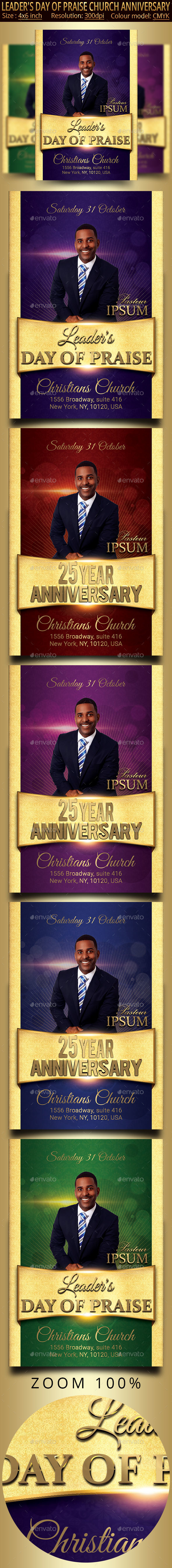 Church Anniversary And Leader's Day Of Praise Flyer - Church Flyers