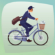 Adult Funny Postman Rides on Bicycle