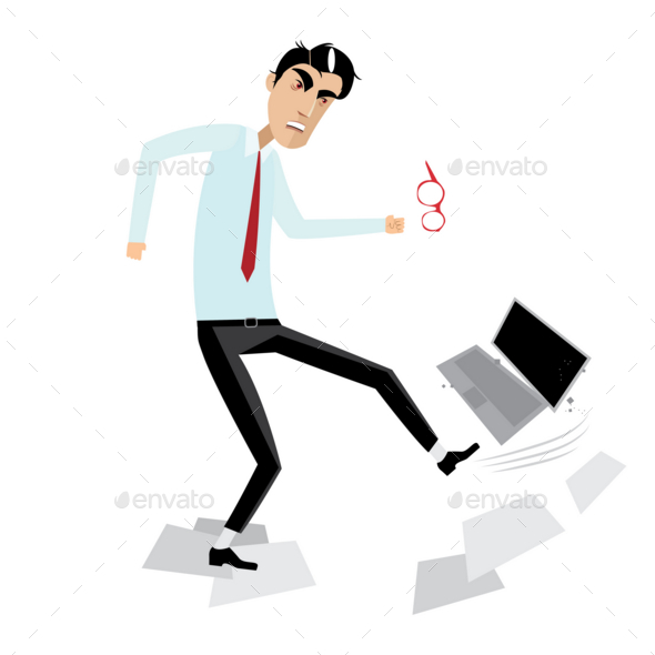 Angry Businessman Breaking Laptop - Computers Technology