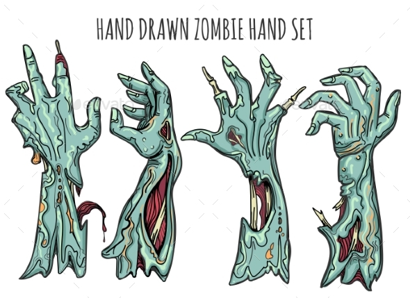 Zombie Hand Set - Miscellaneous Vectors