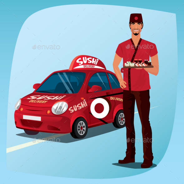 GraphicRiver Asian Man with Sushi and the Car 20763639