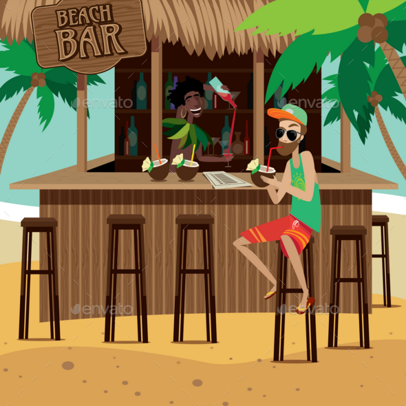 GraphicRiver Man at Beach Bar Drinks Exotic Cocktail 20763795