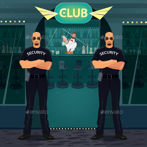 GraphicRiver Bouncers Standing Near Entrance To the Night Club 20763928