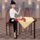 Business Woman Having Lunch in the Dining Room - GraphicRiver Item for Sale