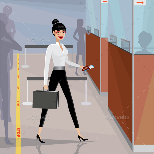 GraphicRiver Business Woman Pass the Passport Control 20764021