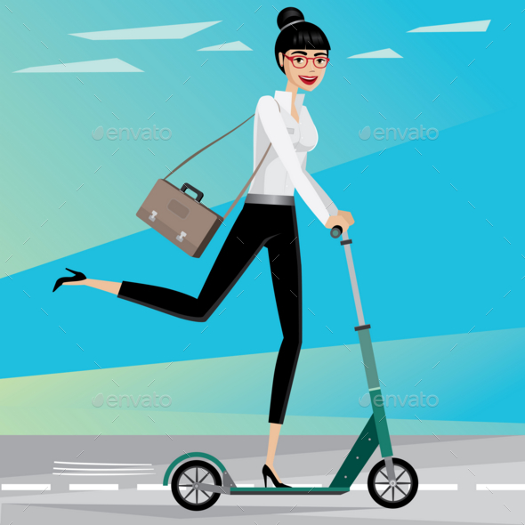 Business Woman Rides a Scooter - People Characters
