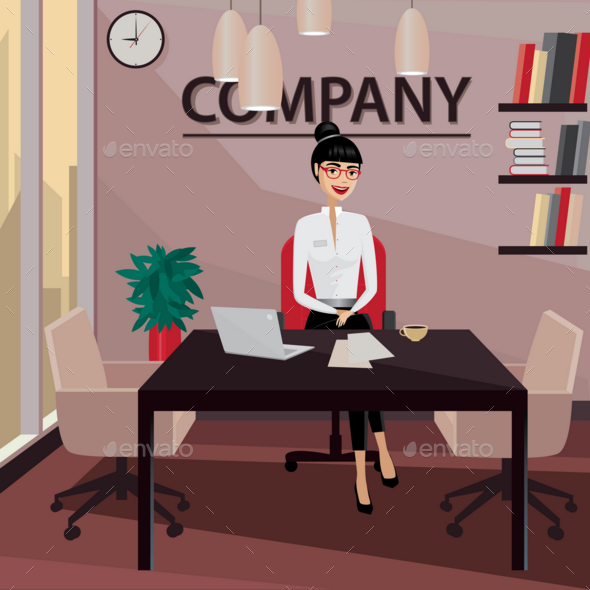 Business Woman Sitting in Her Private Office - People Characters