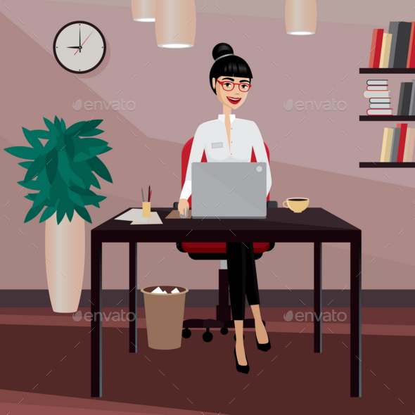 GraphicRiver Business Woman Working at Workplace 20764041