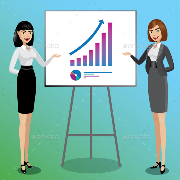 Business Women Showing Graphics - People Characters