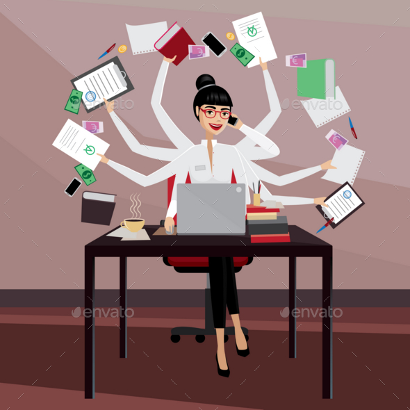 GraphicRiver Busy Business Woman 20764086