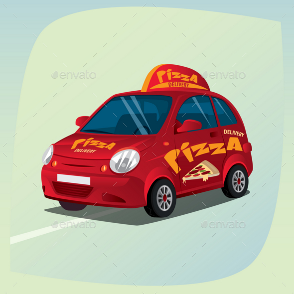 Isolated Pizza Delivery Car - Man-made Objects Objects
