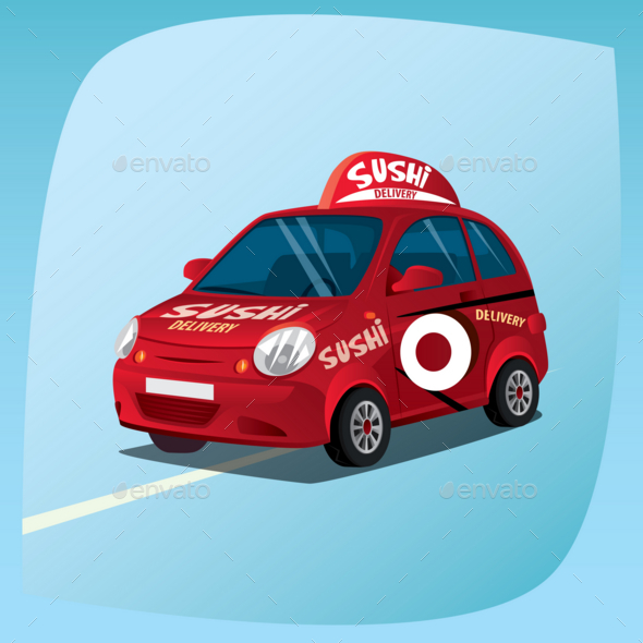 GraphicRiver Isolated Sushi Delivery Car 20764366