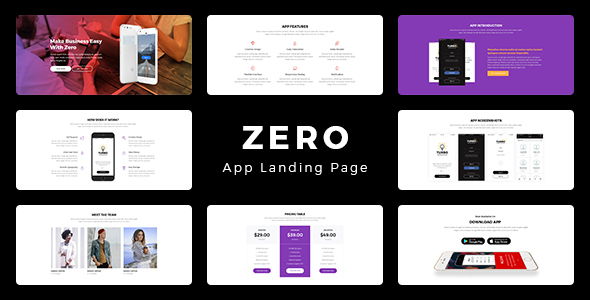 ZERO - App Landing Page - Technology PSD Templates