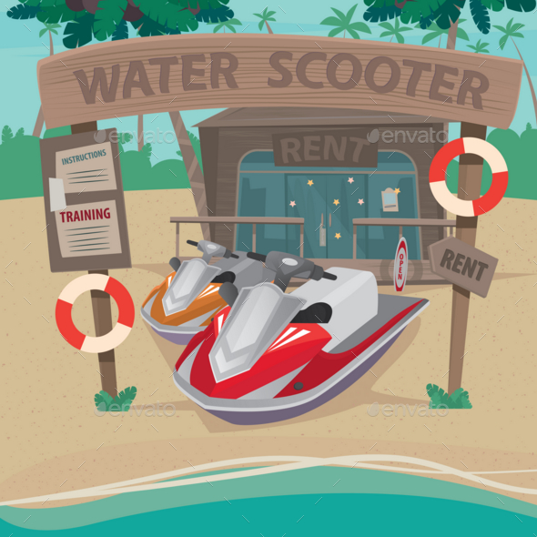 GraphicRiver House on the Beach with Water Scooters 20764425