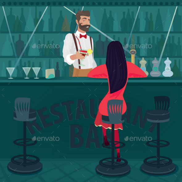 GraphicRiver Lonely Girl in Red Sits in an Empty Bar 20764436