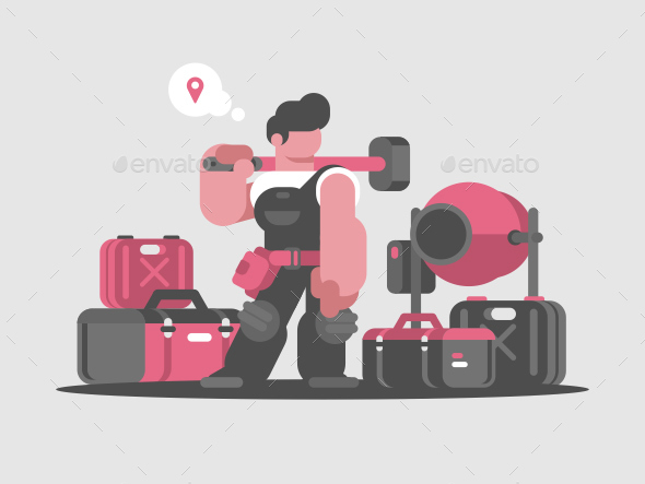 GraphicRiver Builder Worker with Hammer and Tools 20764443