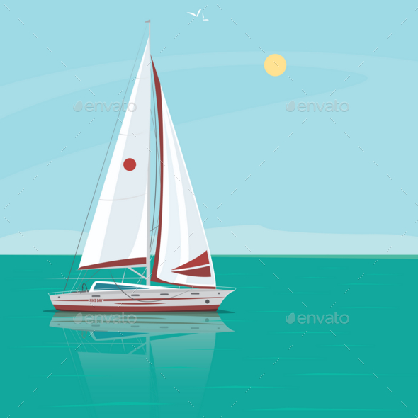 GraphicRiver Lonely Sailing Yacht in the Ocean on a Sunny Day 20764444