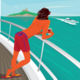 Man Admiring View Standing on Yacht Deck