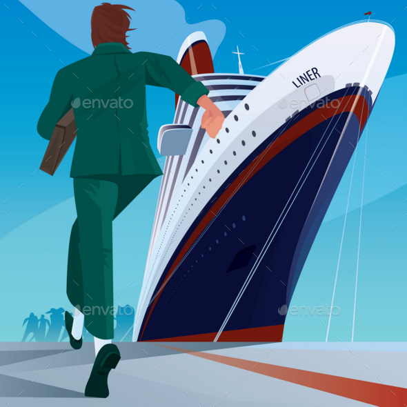 GraphicRiver Man at the Dock Running To the Ship 20764469