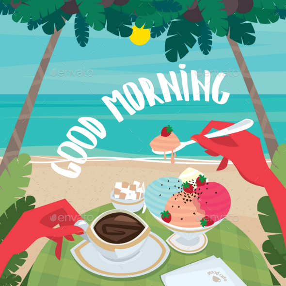 GraphicRiver Man Having Breakfast on the Beach 20764474
