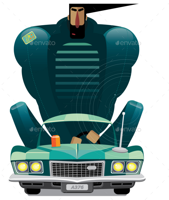Man in Retro Car - Man-made Objects Objects