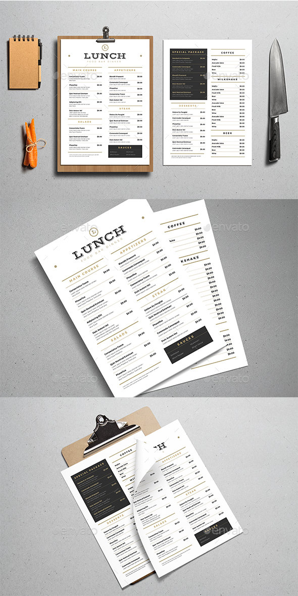 GraphicRiver Simple Food Menus 20764510