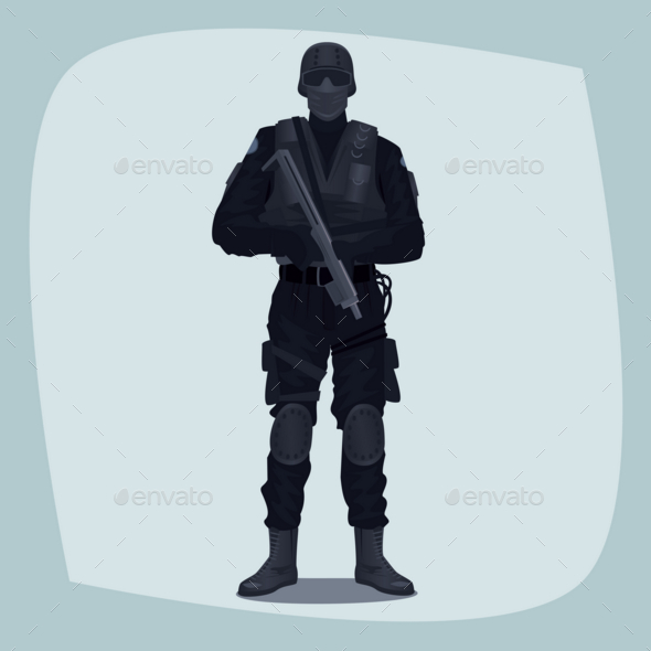 Man of Specialized Tactical Team - People Characters