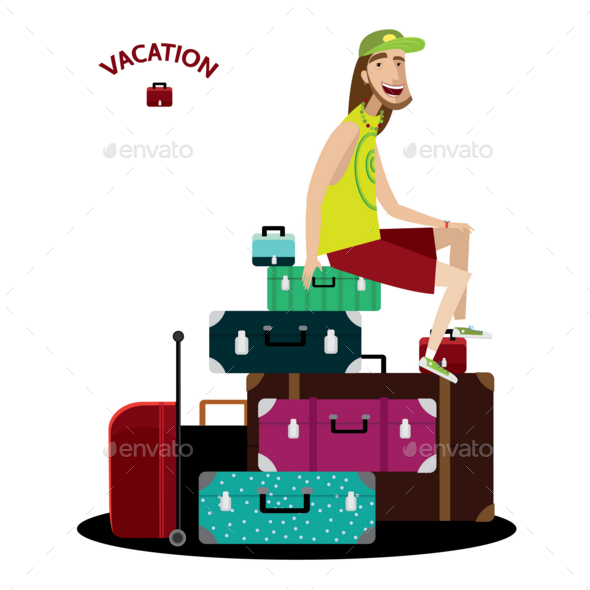 Tourist Sitting on a Luggage - People Characters