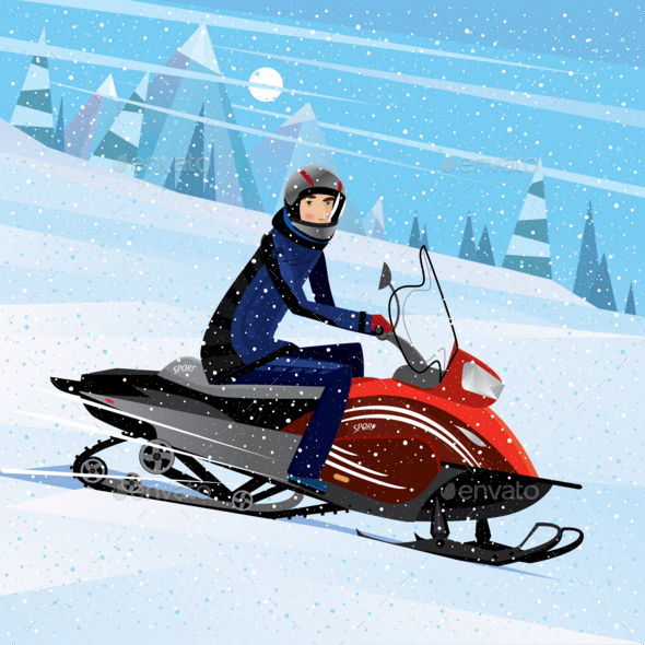 Man Riding on a Snowmobile - Sports/Activity Conceptual