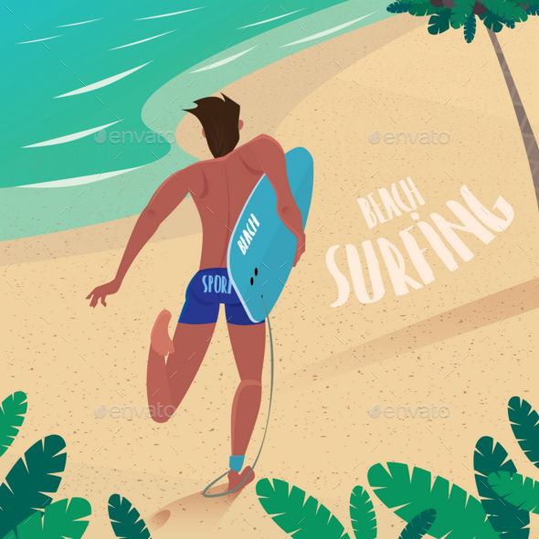 GraphicRiver Man Runs To Ride the Surf 20764550