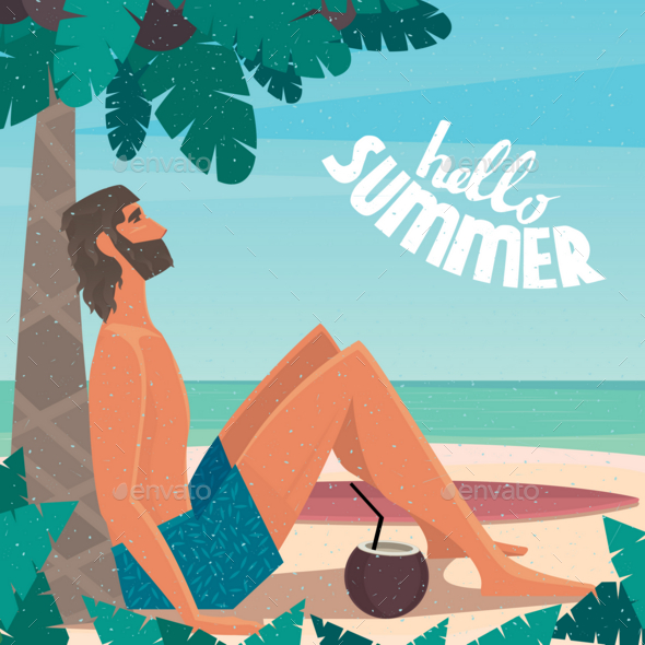 GraphicRiver Man on Vacation Relaxing on the Beach 20764572