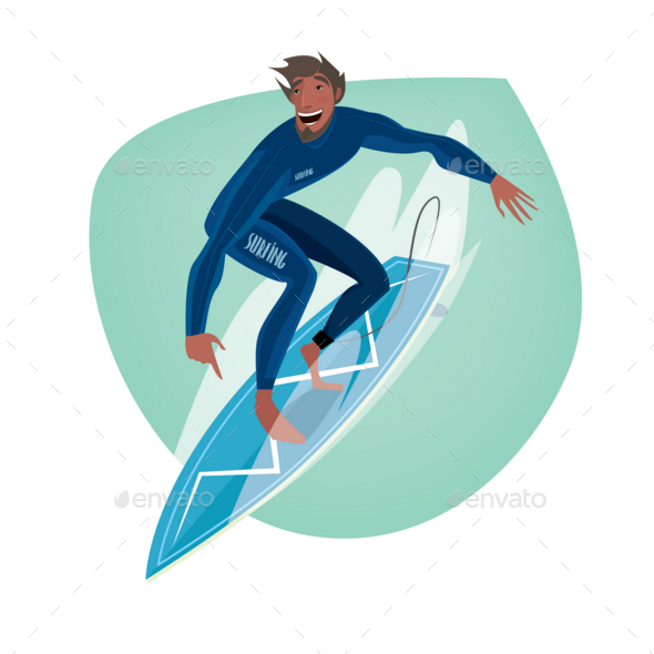 GraphicRiver Man on a Surfboard 20764575