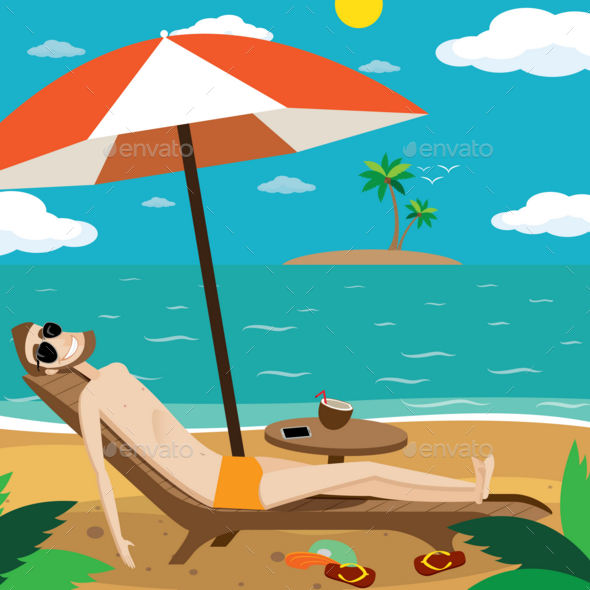 Man Sunbathing on the Beach - Food Objects