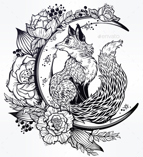 Fox on Night Floral Crescent Moon in Vintage Style - Animals Characters