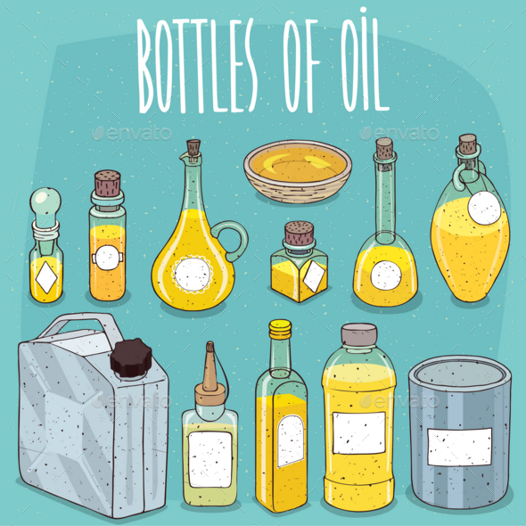 Mockup Set Containers of Oil or Yellow Liquid - Miscellaneous Vectors